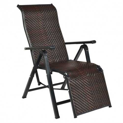 Patio Back Adjustable Rattan Folding Lounge Recliner