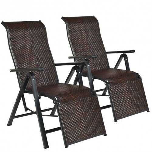 2Pcs Patio Rattan Folding Lounge Chair