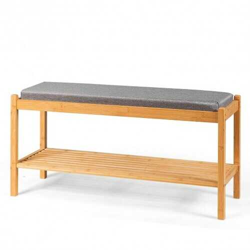 Bamboo Upholstered Padded Shoes Storage Bench