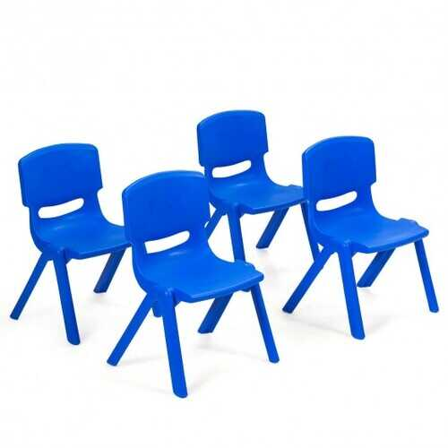 4-pack Kids Plastic Stackable Classroom Chairs-Blue