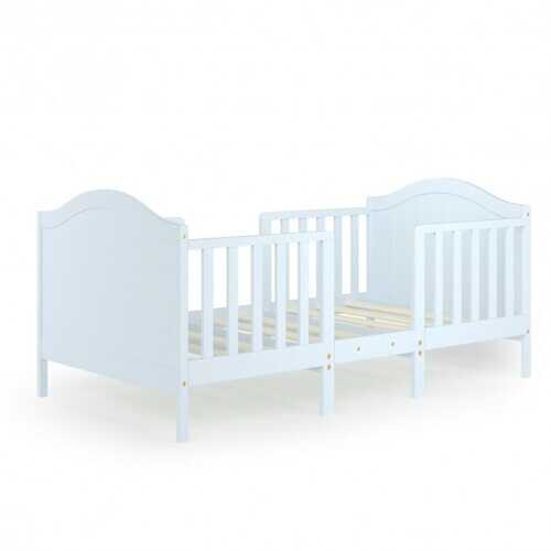 2-in-1 Classic Convertible Wooden Toddler Bed with 2 Side Guardrails for Extra Safety-White