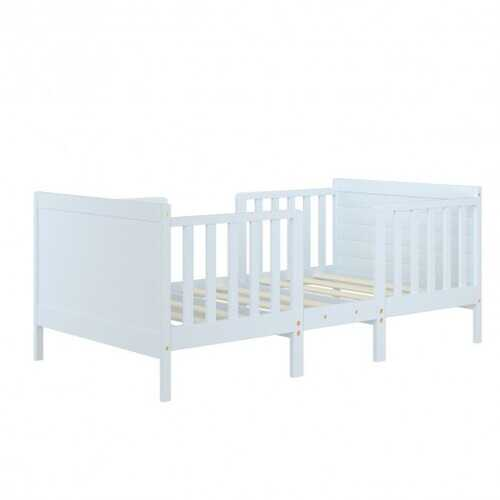 2-in-1 Convertible Kids Wooden Bedroom Furniture with Guardrails-White