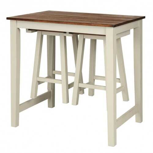 3-Piece Bar Table Set Counter Pub Table