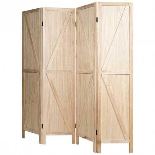 4 Panels Folding Wooden Room Divider-Natural
