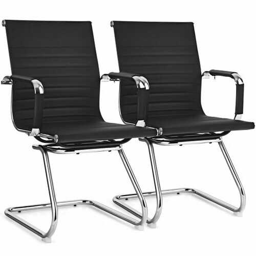 Set of 2 Office Guest Chairs Waiting Room Chairs -Black