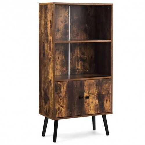 2-Tier Retro Bookcase Bookshelf with 3 Compartment-Coffee