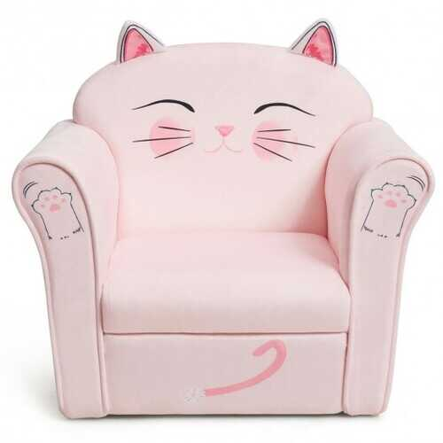 Kids Cat Armrest Couch Upholstered Sofa