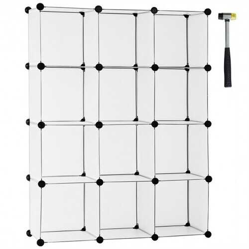 12 Cube Plastic Storage Organizer -White