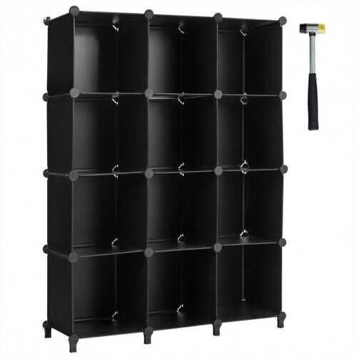 12 Plastic Cube Storage Organizer -Black