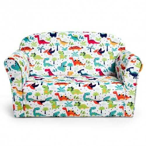 Double Kids Dinosaur Sofa Children Armrest Couch