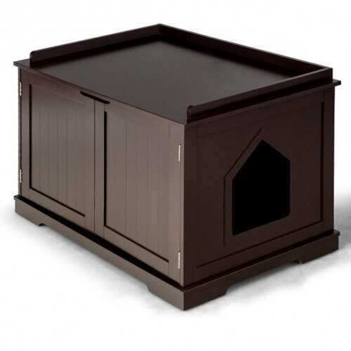 Cat Litter Box Wooden Enclosure Pet House Sidetable Washroom-Brown