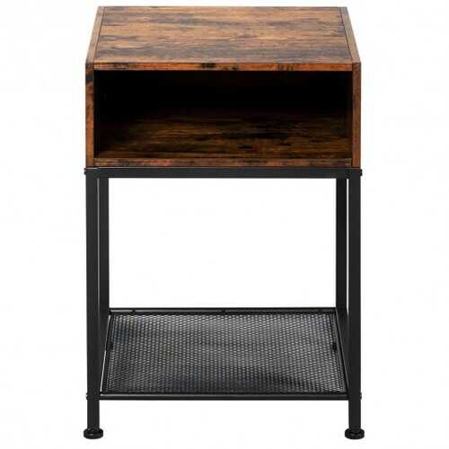 Industrial Nightstand End Side Table with Mesh Shelf