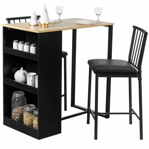 3 Piece Counter Height Pub Dining Set-Natural