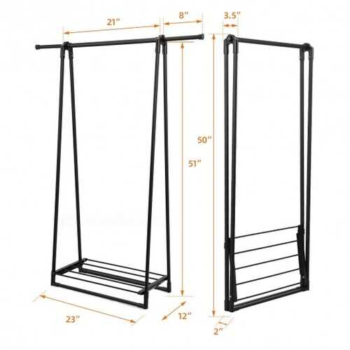 Folding Clothes Hanger with Extendable Hanging Rod-Black