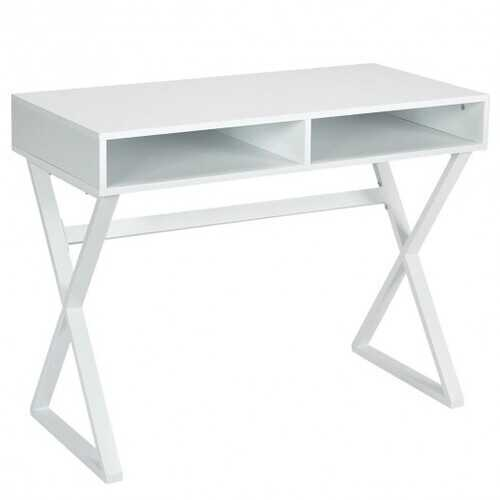 Modern Computer Desk Makeup Vanity Table with 2 Storage Compartments