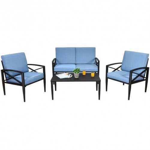 4PCS Patio Furniture Set Aluminum Frame Cushioned Sofa