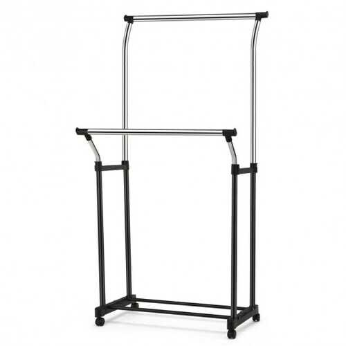 Double Rail Adjustable Clothing Garment Rack with Wheels