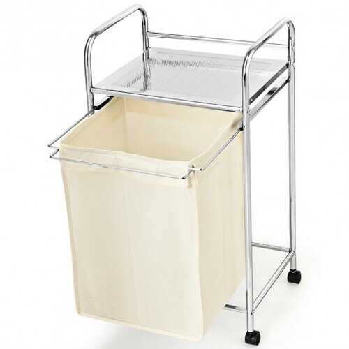 Laundry Hamper Basket Cart with Shelf and Removable Bag