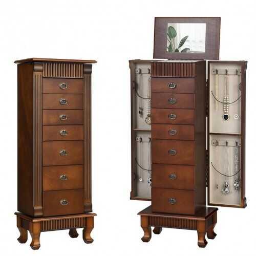 Wooden Jewelry Cabinet Storage Organizer with 7 Drawers