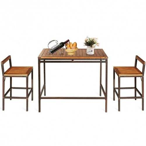 3 PCS Patio Rattan Wicker Bar Dining Furniture Set