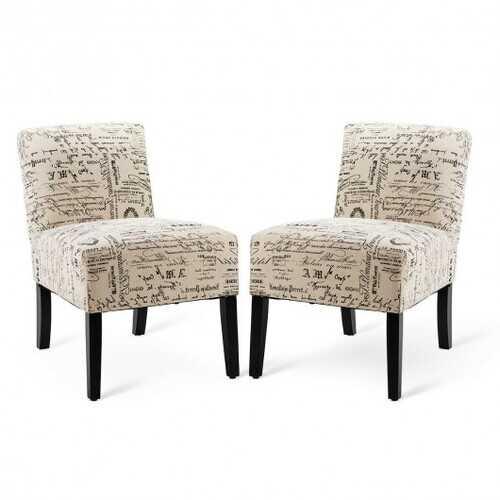 Set of 2 Armless Letter Print Single Sofa Chair