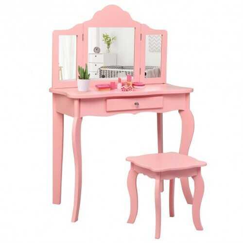 Kids Makeup Dressing Mirror Vanity Table Stool Set