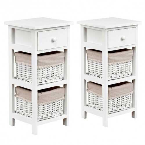 2Pcs Bedroom Bedside End Table with Drawer Baskets-White