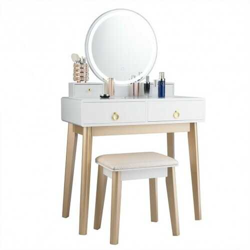 Set 3 Makeup Vanity Table Color Lighting Jewelry Divider Dressing Table-White