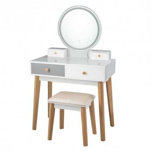 Makeup Dressing Table with 4 Drawers and Lighted Mirror