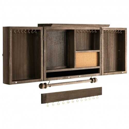 Vintage Wood Wall Mounted Jewelry Organizer Barndoor Decor Jewelry Holder Box -Brown