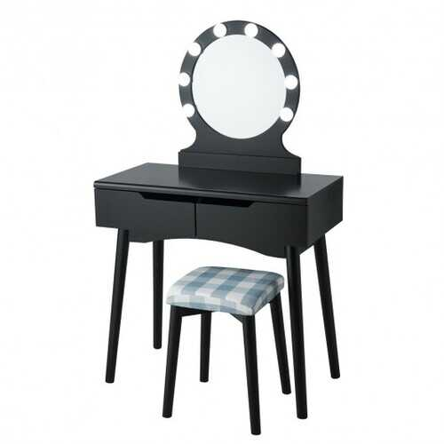 Dressing Table with Large Round Mirror and 8 Light Bulbs for Bedroom-Black