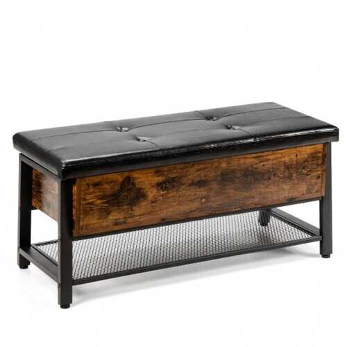 Industrial Storage Shoe Bench with Two Divided Space
