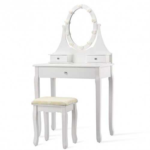 3 Drawers Lighted Mirror Vanity Dressing Table Stool Set-White