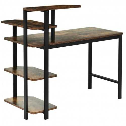 Computer Desk Writing Study Table with Storage Shelves Home Office Rustic Brown-Rustic Brown