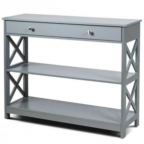Console Table 3-Tier with Drawer and Storage Shelves-Espresso