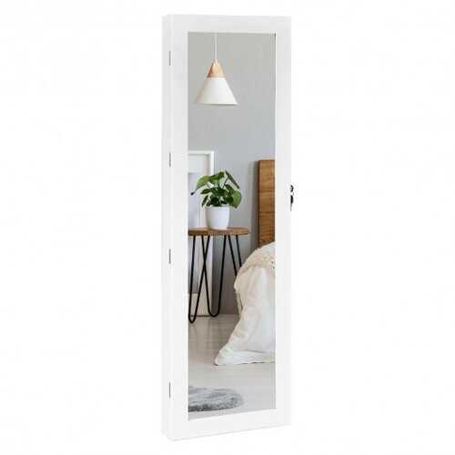 Wall Mounted Lockable Mirror Jewelry Cabinet with LED Light
