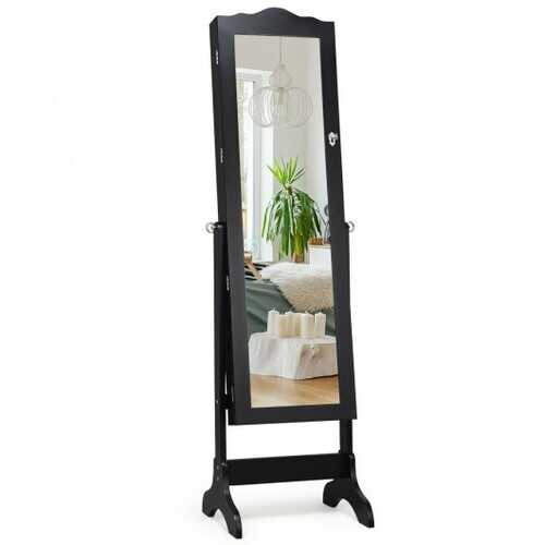 Mirrored Lockable Jewelry Cabinet Armoire Organizer Storage Box-Black