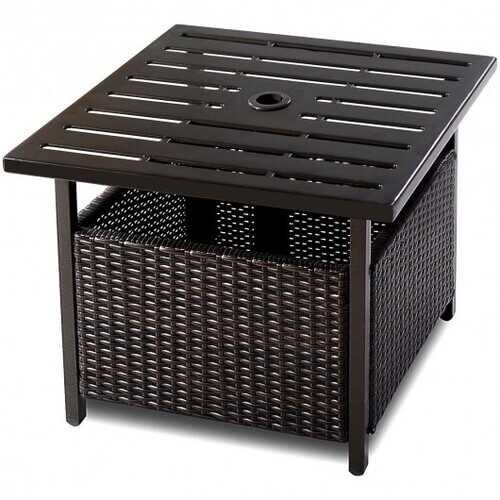 Outdoor Patio Rattan Wicker Steel Side Deck Table