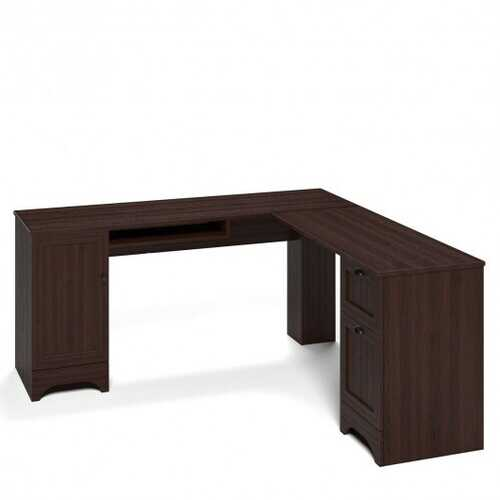 """66"""" 66"""" L-shaped Corner Computer Desk with Drawers-Coffee"""