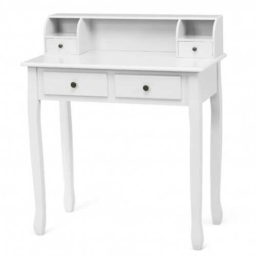 Removable Floating Organizer 2-Tier Mission Home Computer Vanity Desk-white
