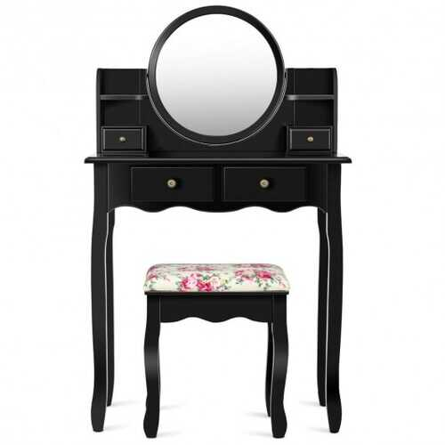 Makeup Vanity Table Set Girls Dressing Table with Drawers Oval Mirror-Black
