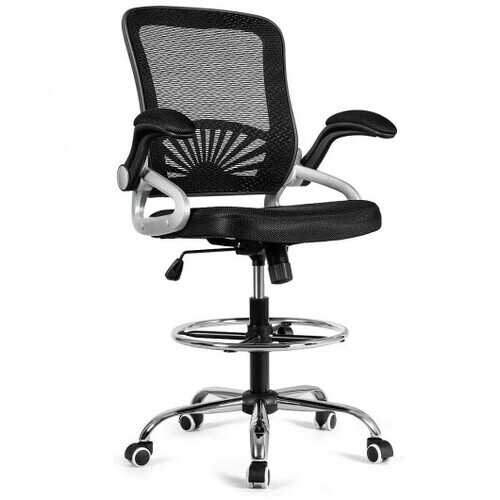 Adjustable Height Flip-Up Mesh Drafting Chair