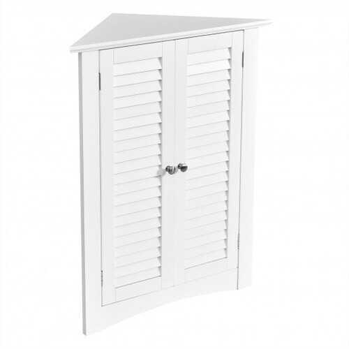 Adjustable Corner Storage Cabinet with Shutter Doors-White