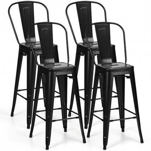 "30"" Height Set of 4 High Back Metal Industrial Bar Stools-Black"