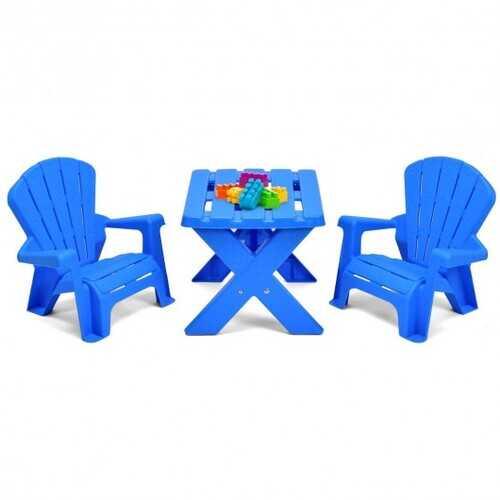 3-Piece Plastic Children Table Chair Set-Blue