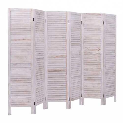 6 Panels Classic Venetian Wooden Slat Room Screen