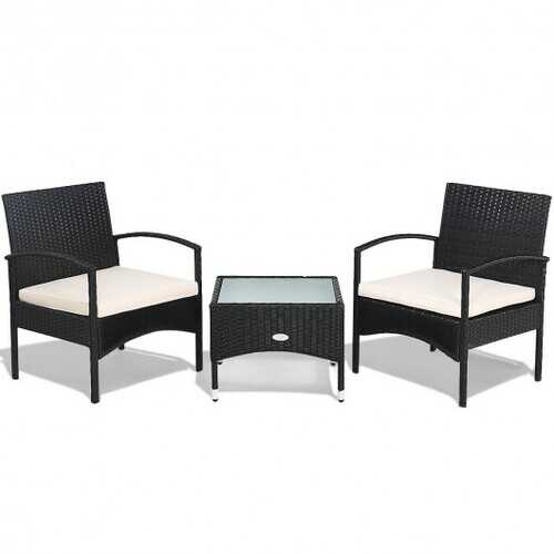 3 pcs Patio Wicker Rattan Furniture Set with White Cushion