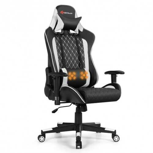 Massage Gaming Chair with Lumbar Support and Headrest-White