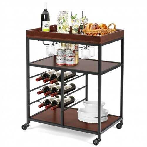 3 Tier Storage Bar Serving Cart with Wine Rack