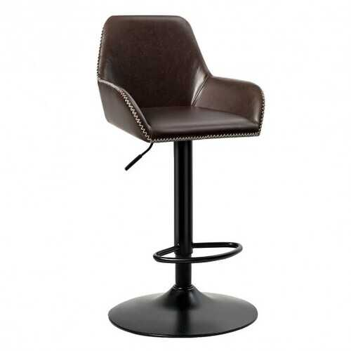 Retro Comfortable Adjustable Swivel Bar Stools with PU Leather Seat and Footrest